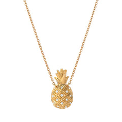 pineapple necklace in 14k yellow gold with diamonds