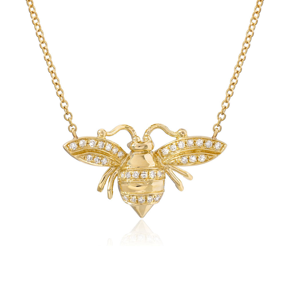 larger bee necklace in 14k yellow gold with diamonds