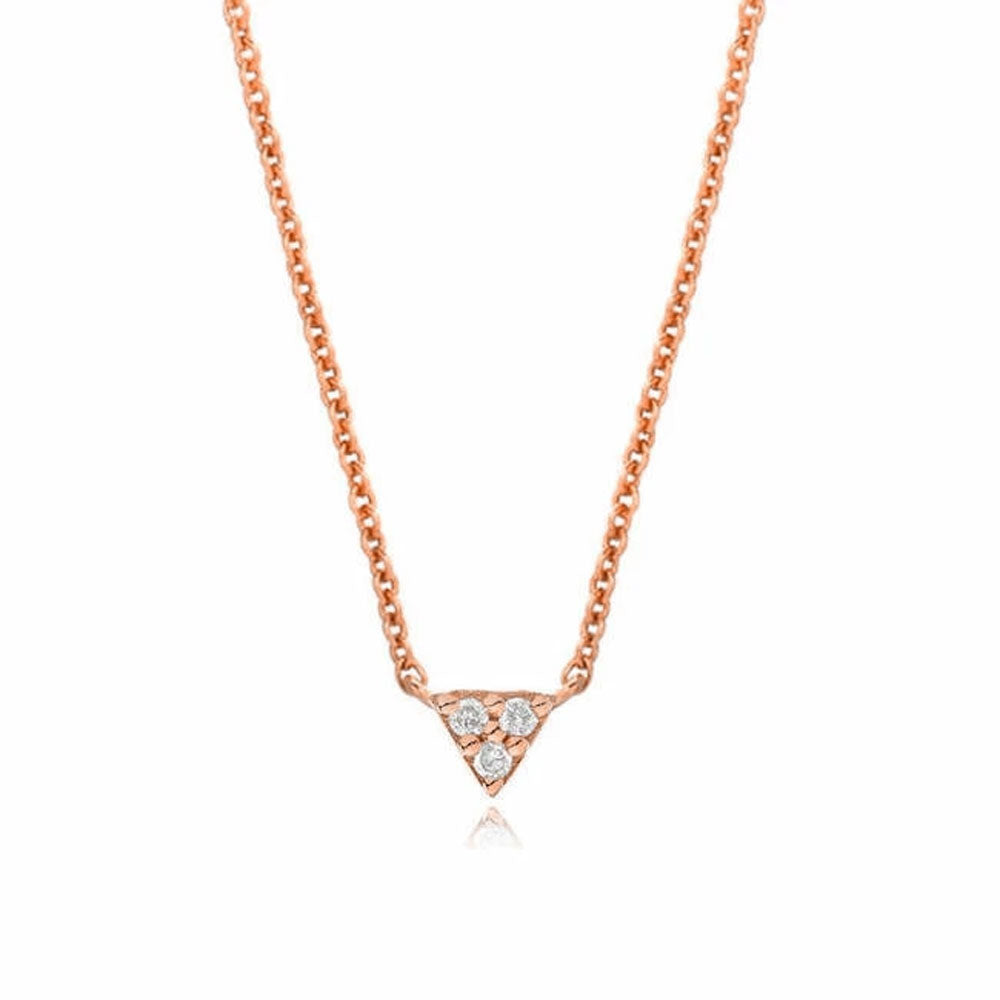 petite triangle point necklace in rose gold with diamonds