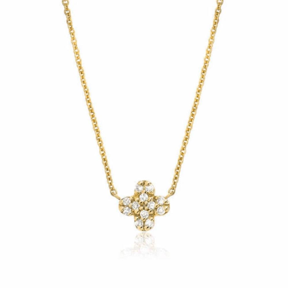 petite clover necklace in yellow gold