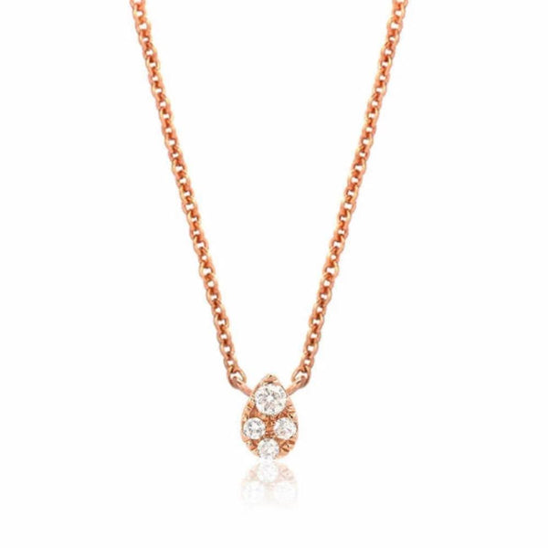 petite teardrop choker necklace in rose gold