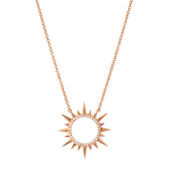 circle sunburst necklace with diamonds in 14k rose gold