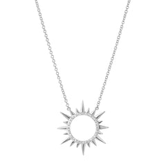 circle sunburst necklace with diamonds in 14k white gold