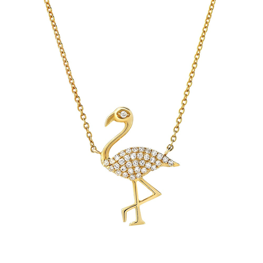 flamingo necklace in 14k yellow gold with diamonds
