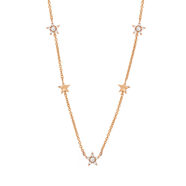 Stars by the yard petite necklace in 14k rose gold with diamonds