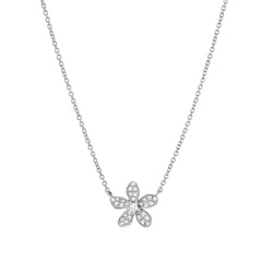 Resort Collection Pave Plumeria Necklace in 14k white gold