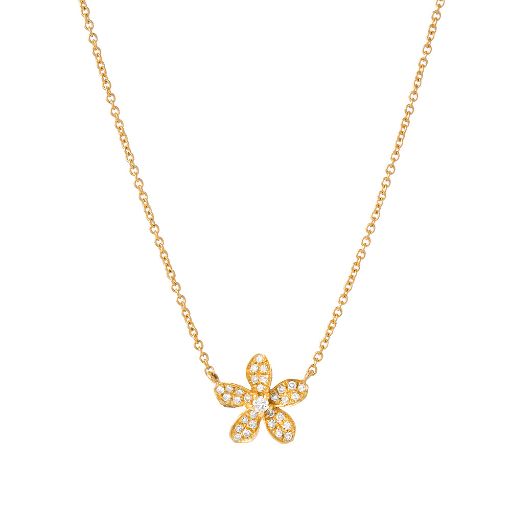 Resort Collection Pave Plumeria Necklace in 14k yellow gold