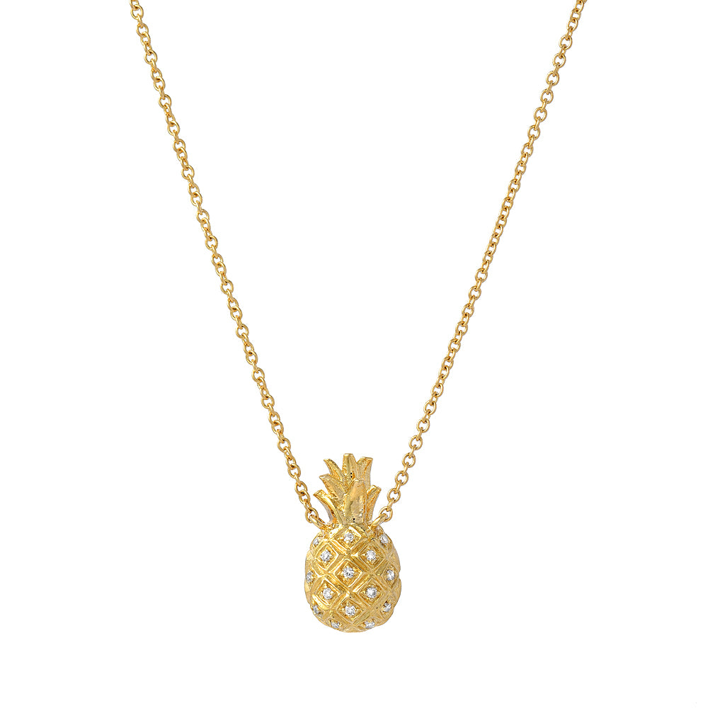 mini pineapple necklace in 14k yellow gold