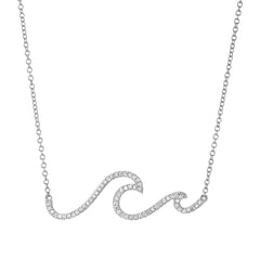 wave necklace in 14k white gold