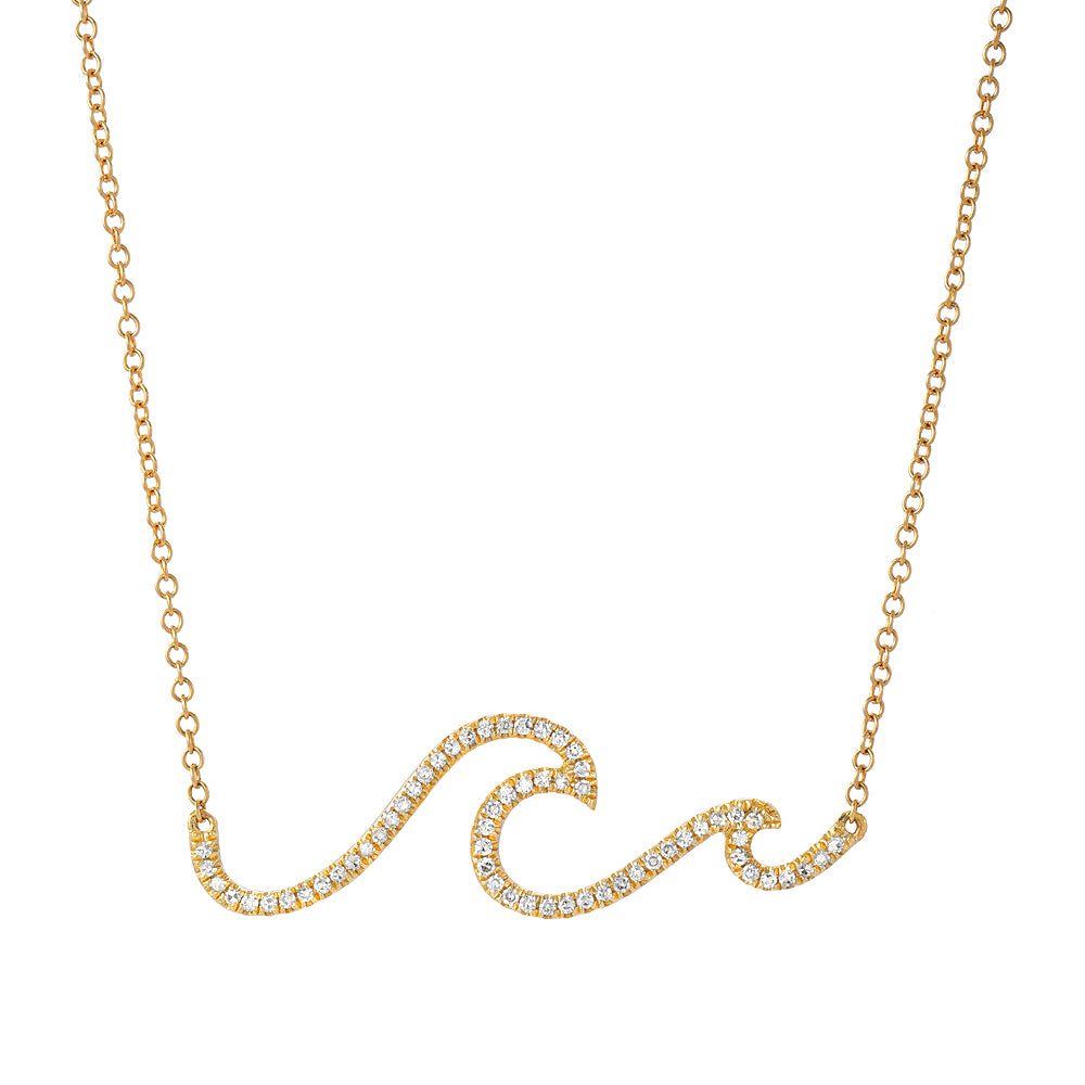 wave necklace in 14k yellow gold