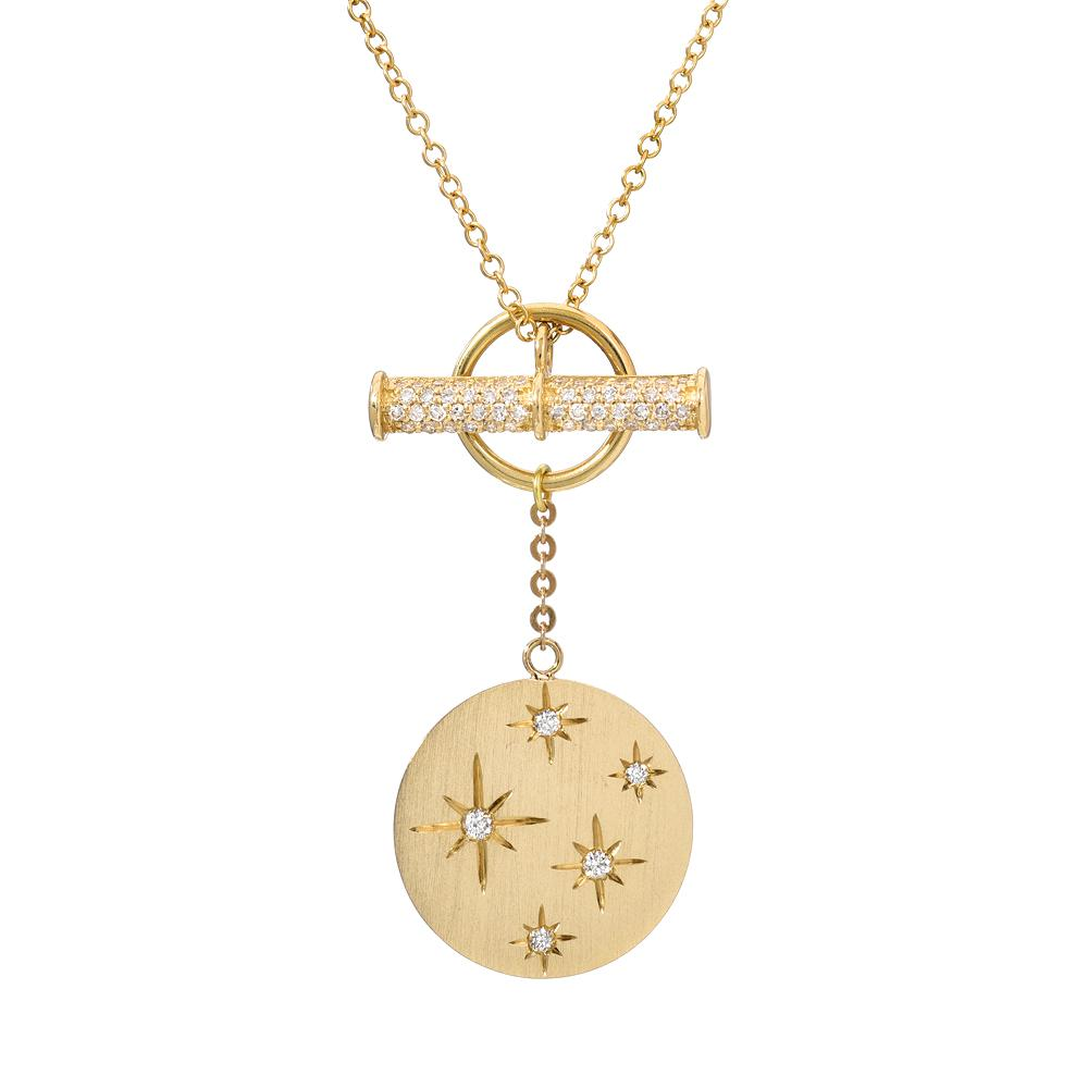 Starry Disc toggle necklace in 14k yellow gold