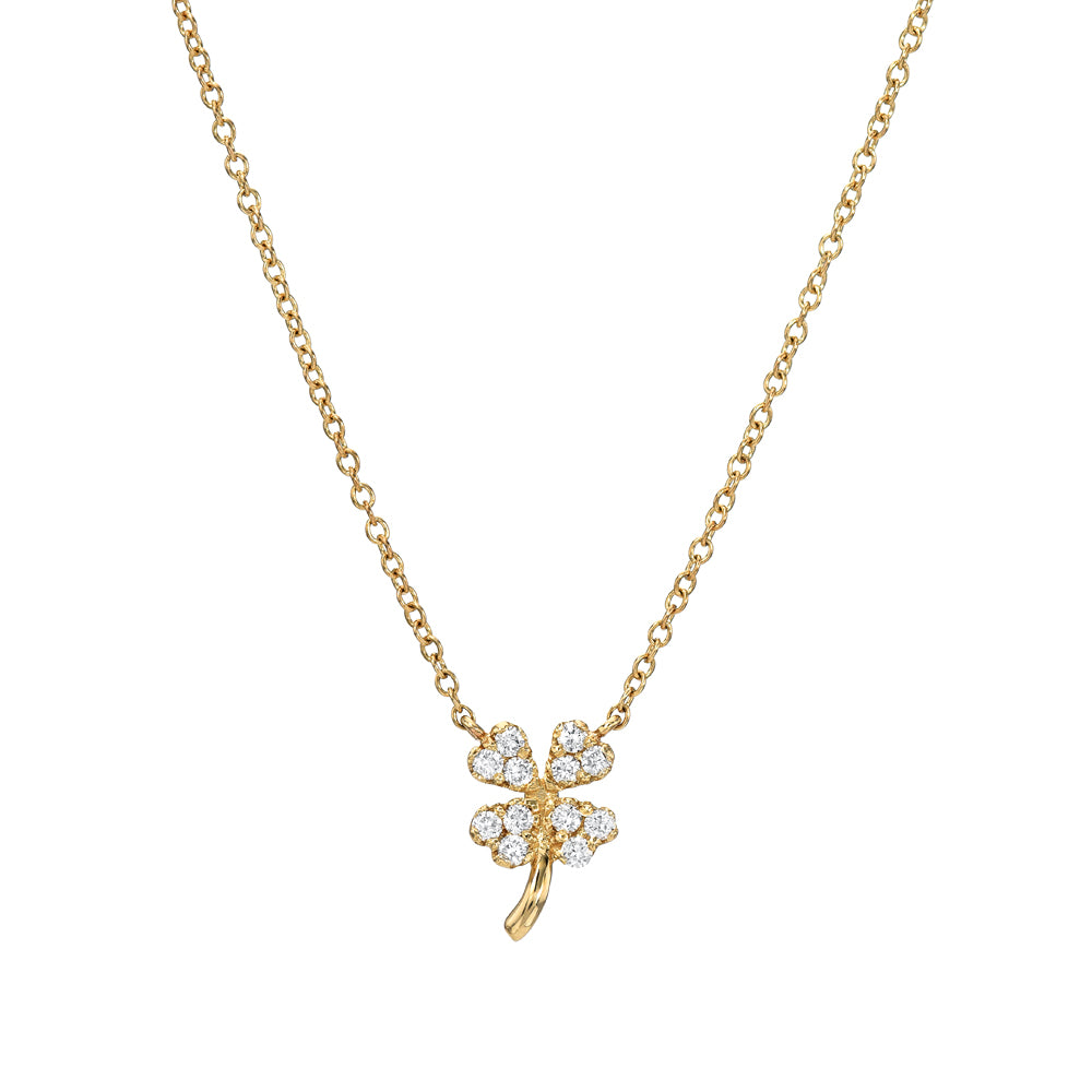 four leaf clover lucky necklace in gold with diamonds