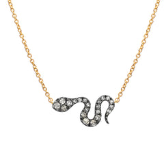 two tone snake necklace with white and champagne diamonds