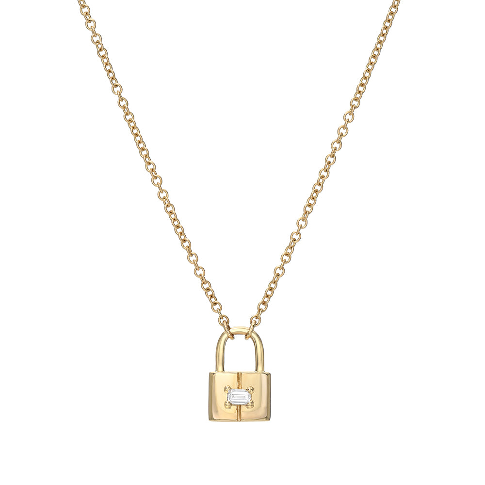 padlock necklace with baguette diamond center