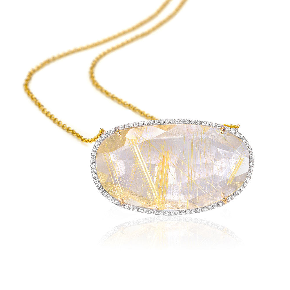 One of a Kind Golden Rutilated Quartz Necklace