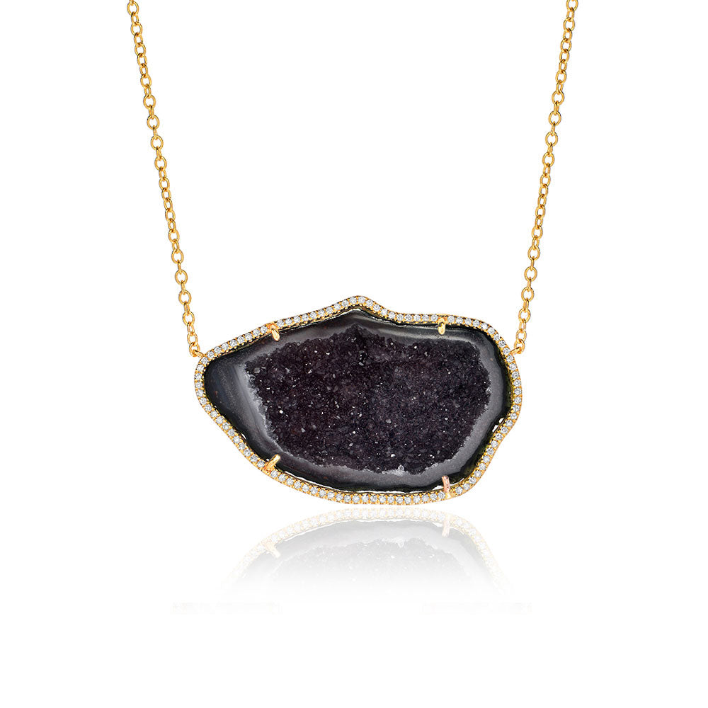 One of a Kind Geode and Diamond Necklace