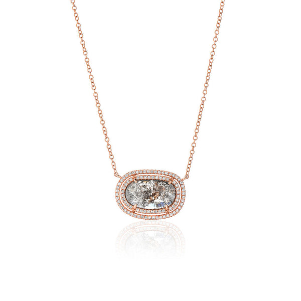One of a Kind Diamond Slice Double Halo Necklace