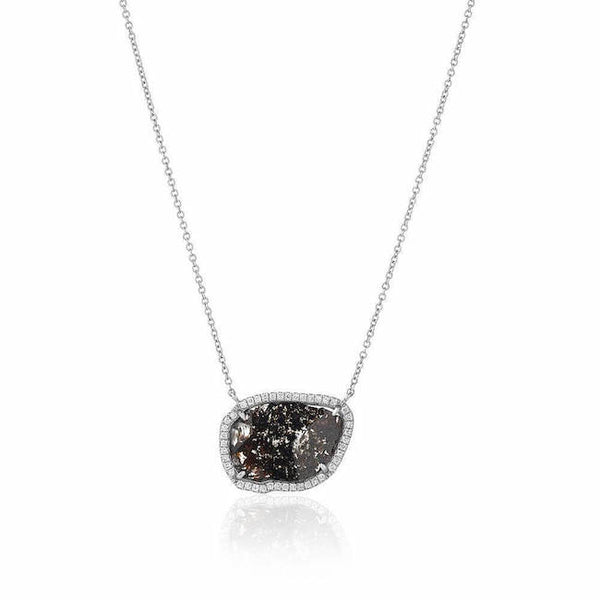 one of a kind diamond slice necklace in white gold