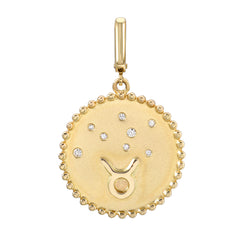zodiac clip charm in 14k yellow gold