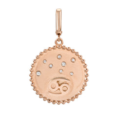 zodiac clip charm in 14k rose gold
