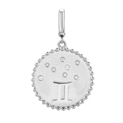 zodiac clip charm in 14k white gold