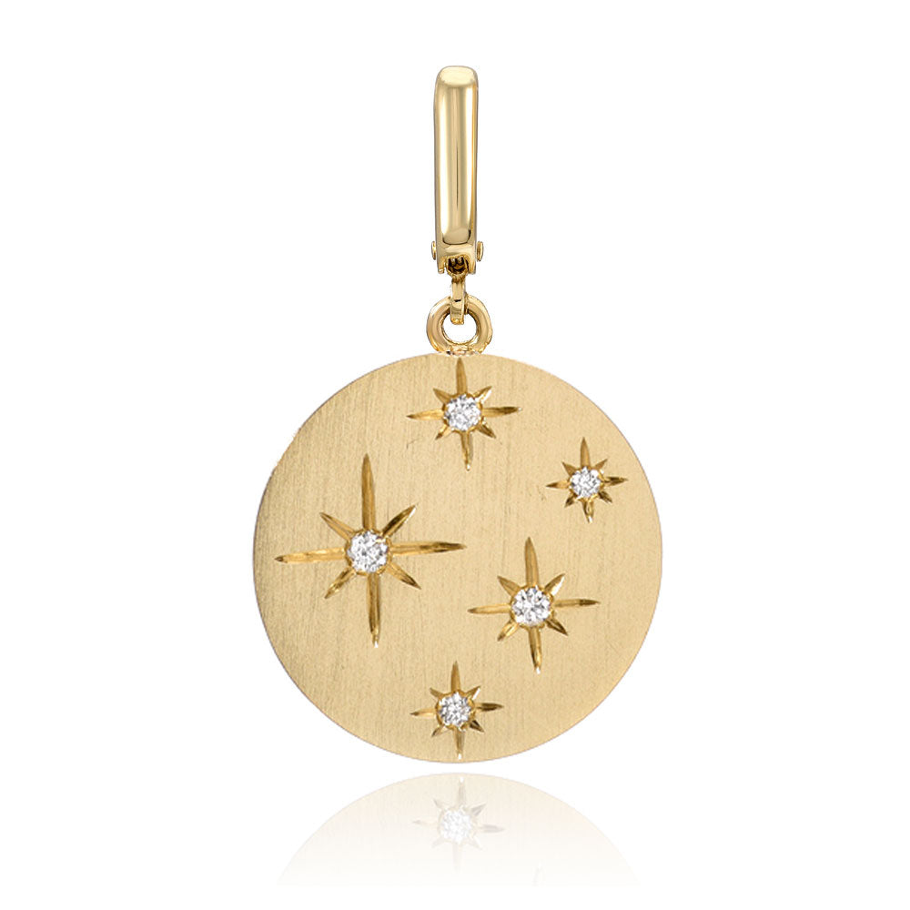 star scattered disc clip charm in 14k yellow gold