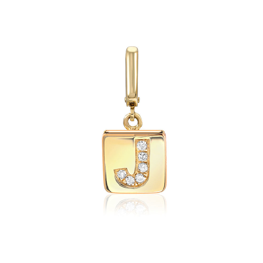 Initial plaque clip charm in 14k yellow gold