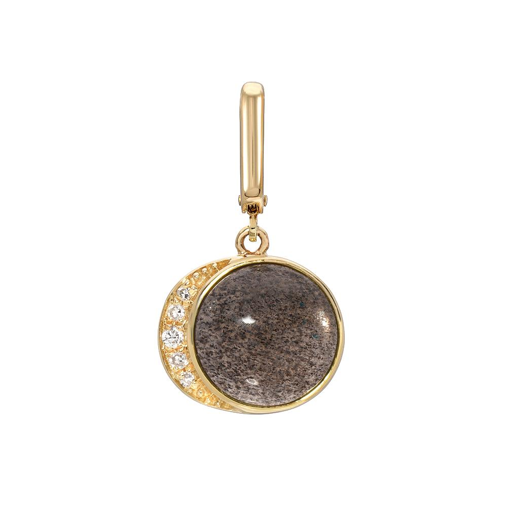 Moon Phase Clip Charm With Gray Moonstone Cabochon and Diamonds