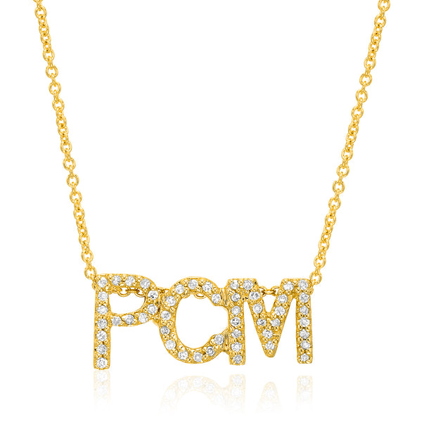 petitie triple block inital necklace in yellow gold
