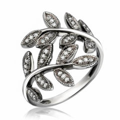 leaf ring with diamonds in black rhodium