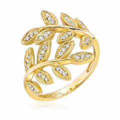 leaf ring with diamonds in yellow gold