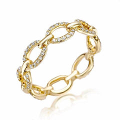 classic chain link eternity band in yellow gold