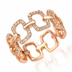 emerlad chain link eternity band in rose gold