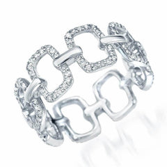 emerlad chain link eternity band in white gold