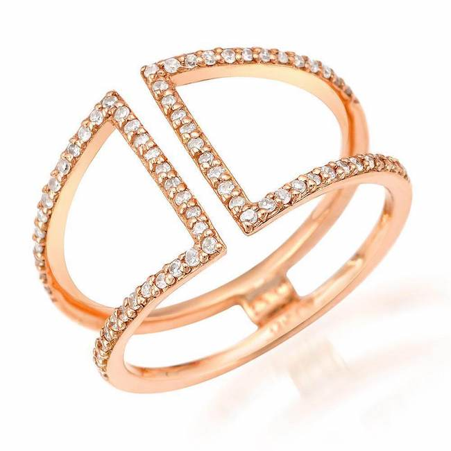 short cuff ring with diamonds in rose gold