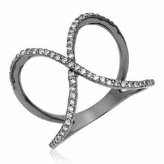 x ring with diamonds in black rhodium