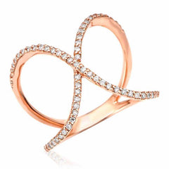 x ring with diamonds in rose gold
