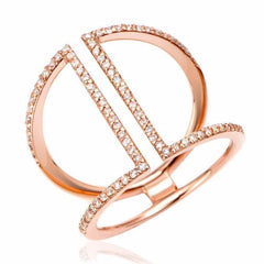 cuff ring with diamonds in rose gold