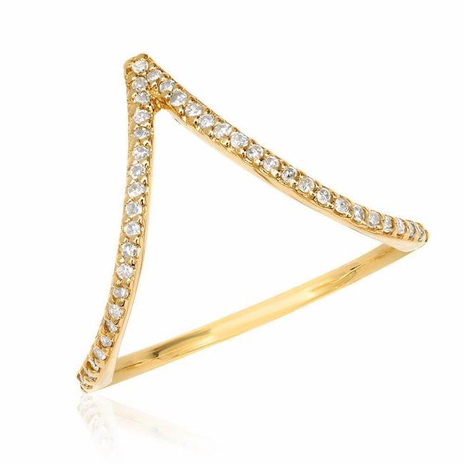chevron ring with diamonds in yellow gold