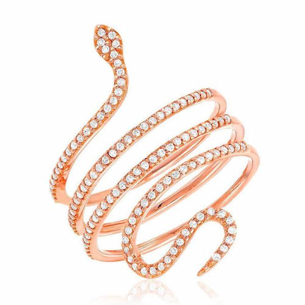 Snake ring in rose gold with diamonds