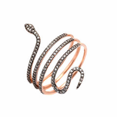 Snake ring in rose gold and black rhodium with diamonds