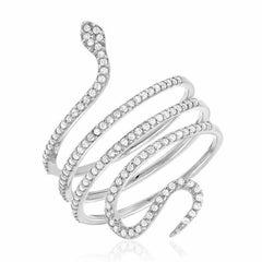 Snake ring in white gold with diamonds