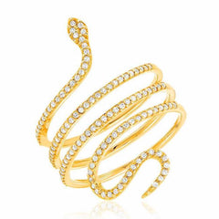Snake ring in yellow gold with diamonds