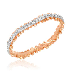 Granules wave eternity band in rose gold with white gold