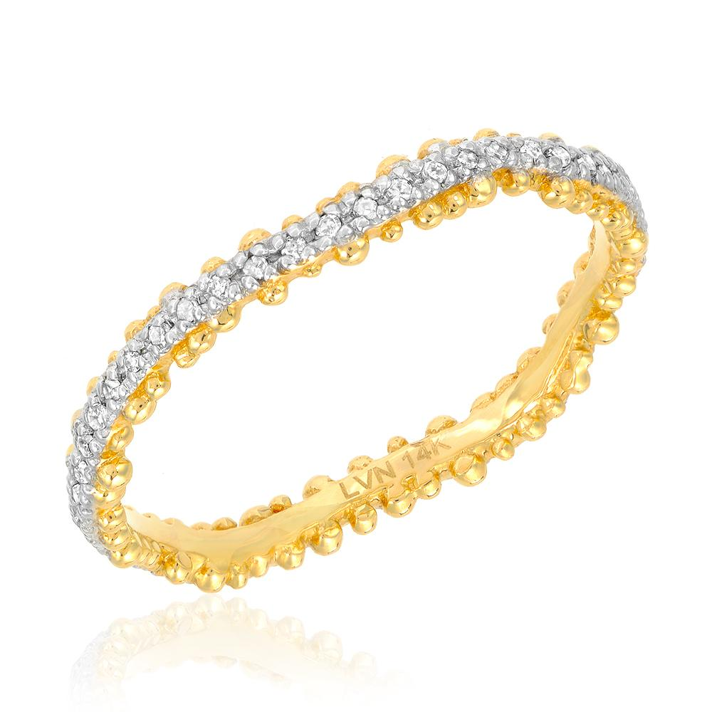 Granules wave eternity band in yellow gold with white gold