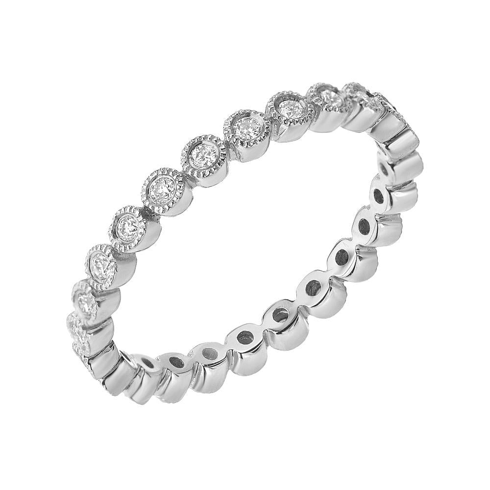 bezel set diamond eternity band in white gold