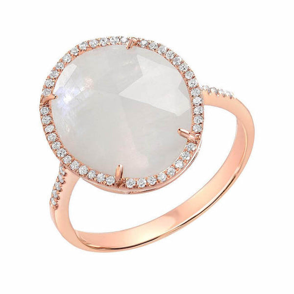 organic shape rose cut rainbow moonstone ring in rose gold