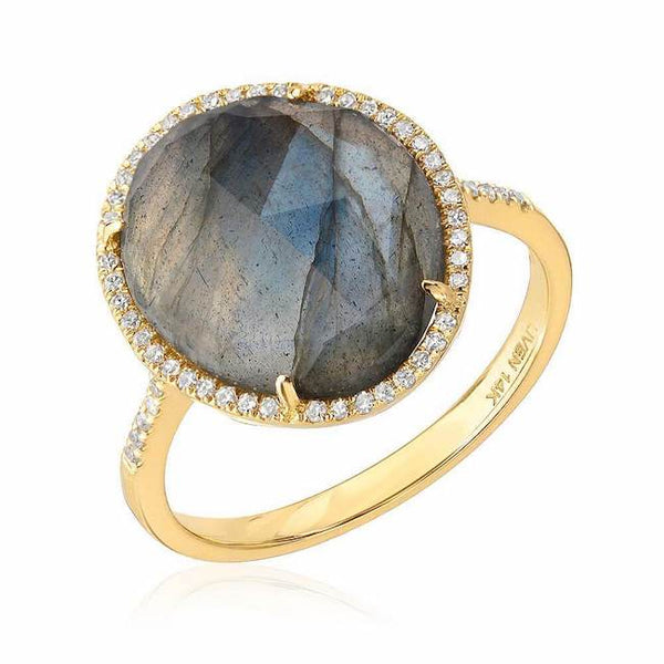 organic shape rose cut labradorite ring in yellow gold