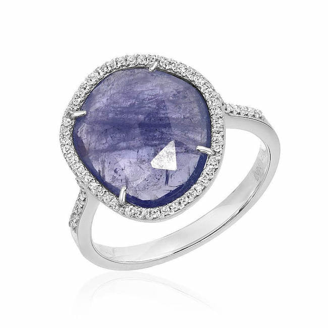 one of a kind tanzanite ring in white gold with diamonds