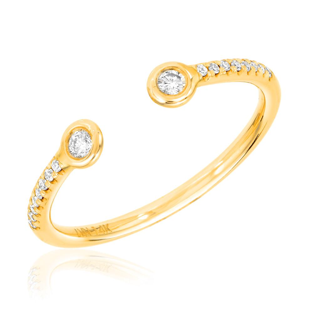 Double Bezel Diamond Open Halfway Band in yellow gold